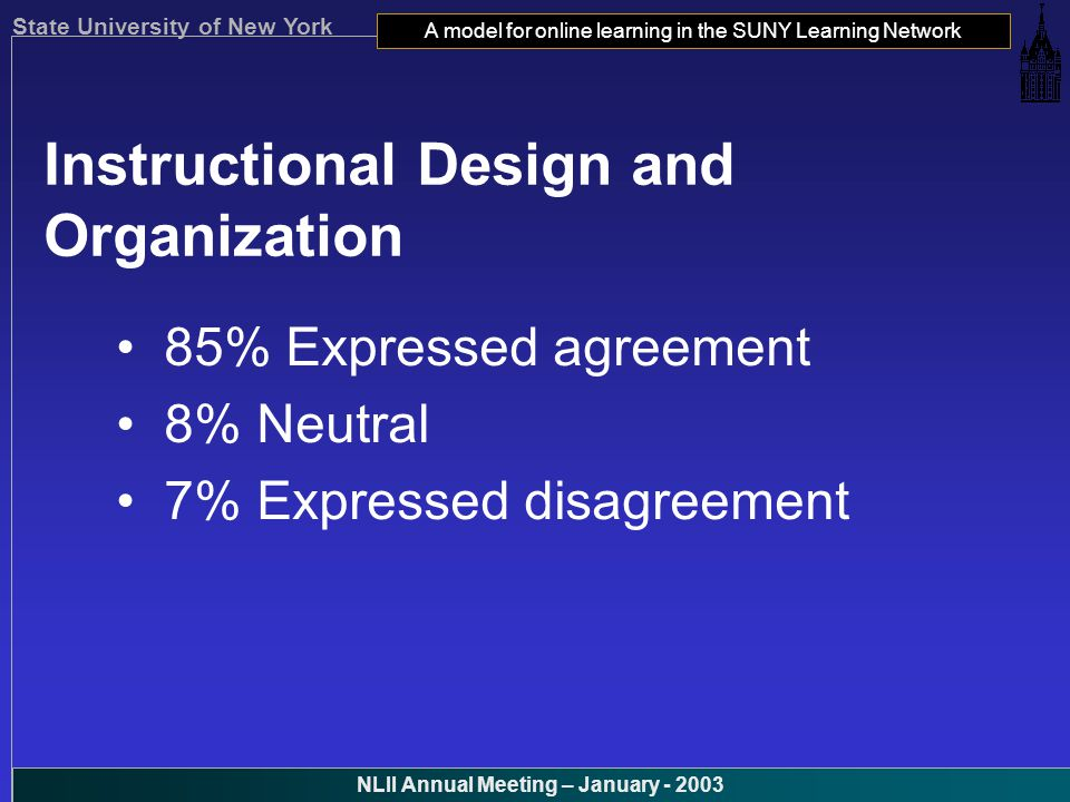 State university of new york a model for online learning in the suny learning network nlii annual meeting january 2003 instructional design and organization 85 expressed agreement 8 neutral 7 expressed disagreement platinumwayz