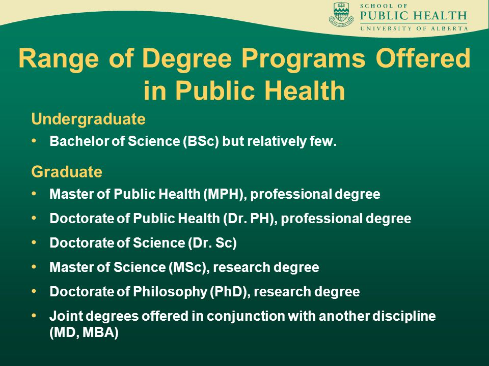 Range of Degree Programs Offered in Public Health Undergraduate Bachelor of Science (BSc) but relatively few.