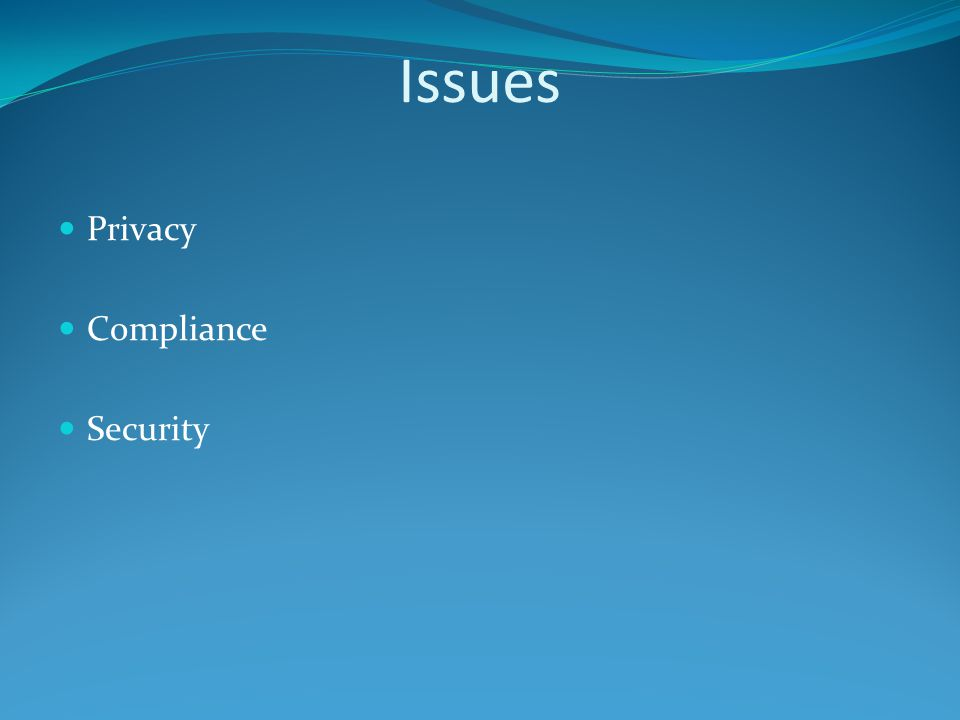 Issues Privacy Compliance Security