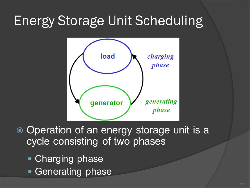 Energy Storage Unit Scheduling  Operation of an energy storage unit is a cycle consisting of two phases Charging phase Generating phase 12