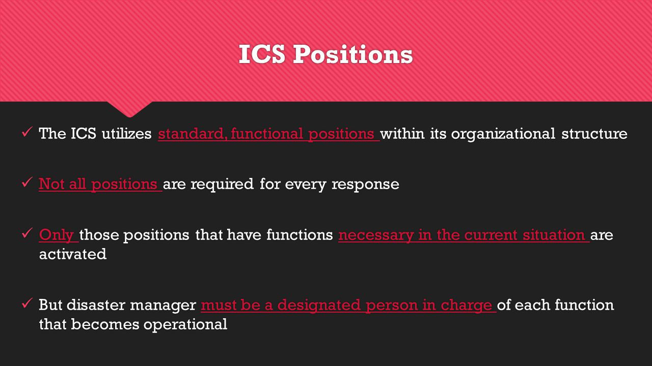 The ICS utilizes standard, functional positions within its organizational structure Not all positions are required for every response Only those positions that have functions necessary in the current situation are activated But disaster manager must be a designated person in charge of each function that becomes operational The ICS utilizes standard, functional positions within its organizational structure Not all positions are required for every response Only those positions that have functions necessary in the current situation are activated But disaster manager must be a designated person in charge of each function that becomes operational