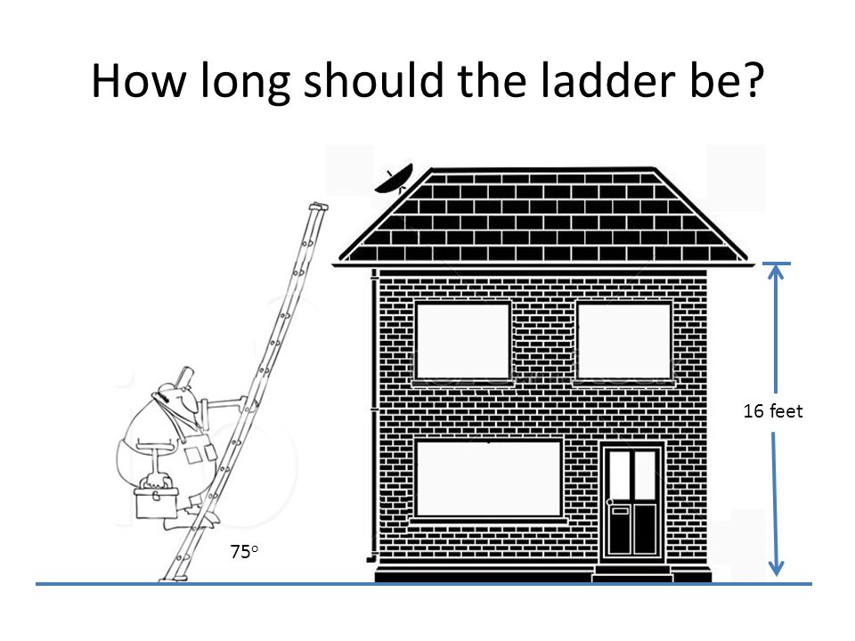 How long should the ladder be 16 feet 75 o