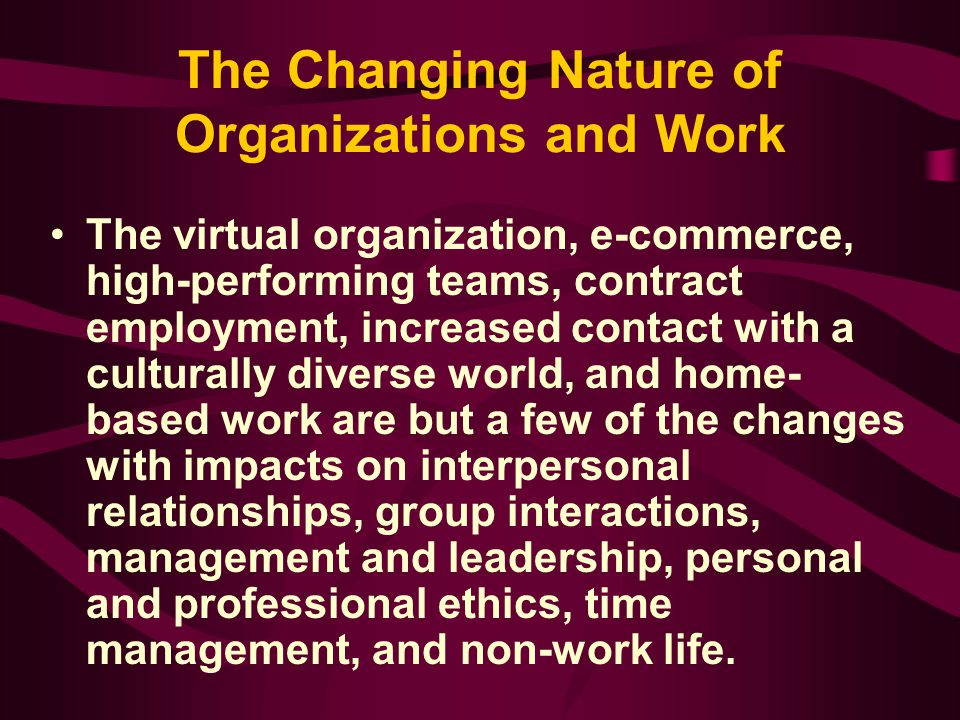 The Changing Nature of Organizations and Work The virtual organization, e-commerce, high-performing teams, contract employment, increased contact with