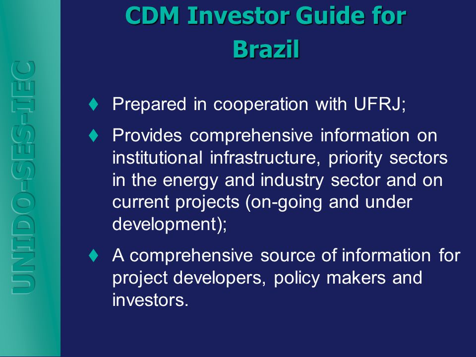 CDM Investor Guide for Brazil  Prepared in cooperation with UFRJ;  Provides comprehensive information on institutional infrastructure, priority sectors in the energy and industry sector and on current projects (on-going and under development);  A comprehensive source of information for project developers, policy makers and investors.