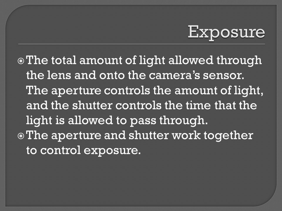  The total amount of light allowed through the lens and onto the camera's sensor.