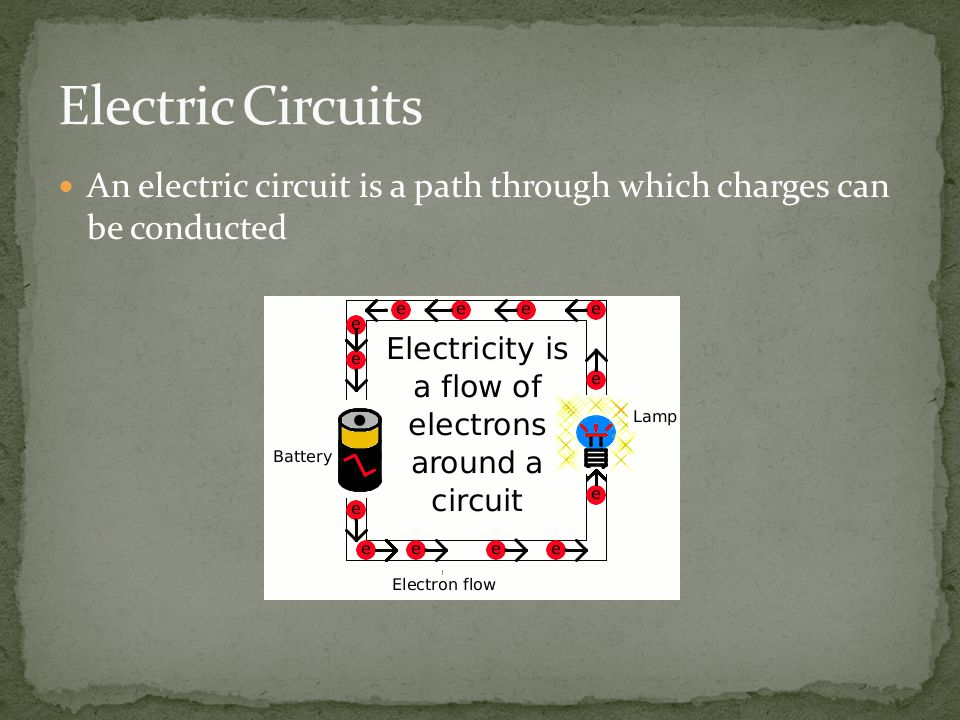 An electric circuit is a path through which charges can be conducted