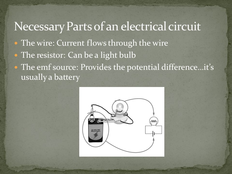 The wire: Current flows through the wire The resistor: Can be a light bulb The emf source: Provides the potential difference…it's usually a battery