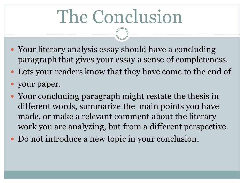 How To Write A Literary Analysis Conclusion Paragraph  Literary  How To Write A Literary Analysis Conclusion Paragraph Essay For Health also Causes Of The English Civil War Essay  Health And Wellness Essay