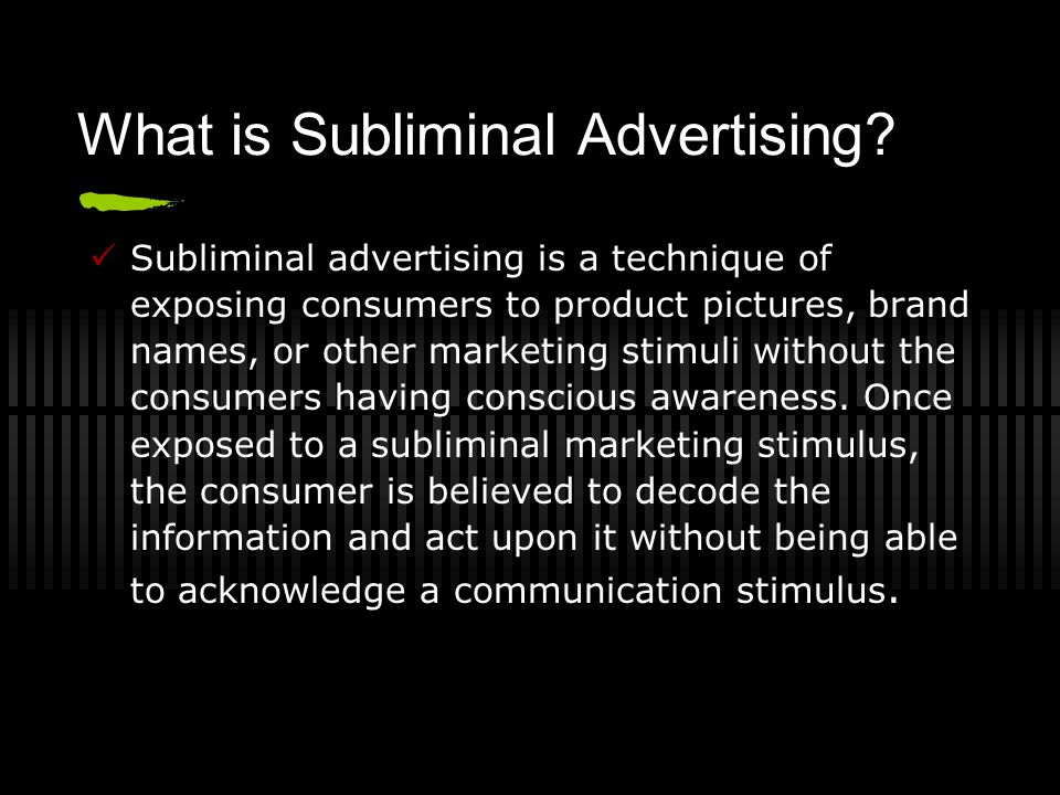 a short division of subliminal advertising This is an image that ran in the phone book until they found out that it is a little unusual subliminal messages are in images every day subliminal images are on video boxes, in magazine ads, even in the phone book as the image to the left supports.