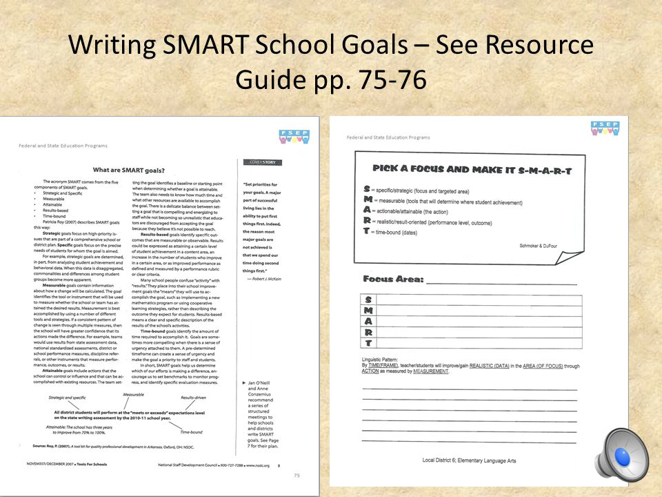 The School Goal sets a measurable target for improvement based upon the LEA Goal and Findings from student data [limit: one (1) School Goal per each Goal Matrix section]