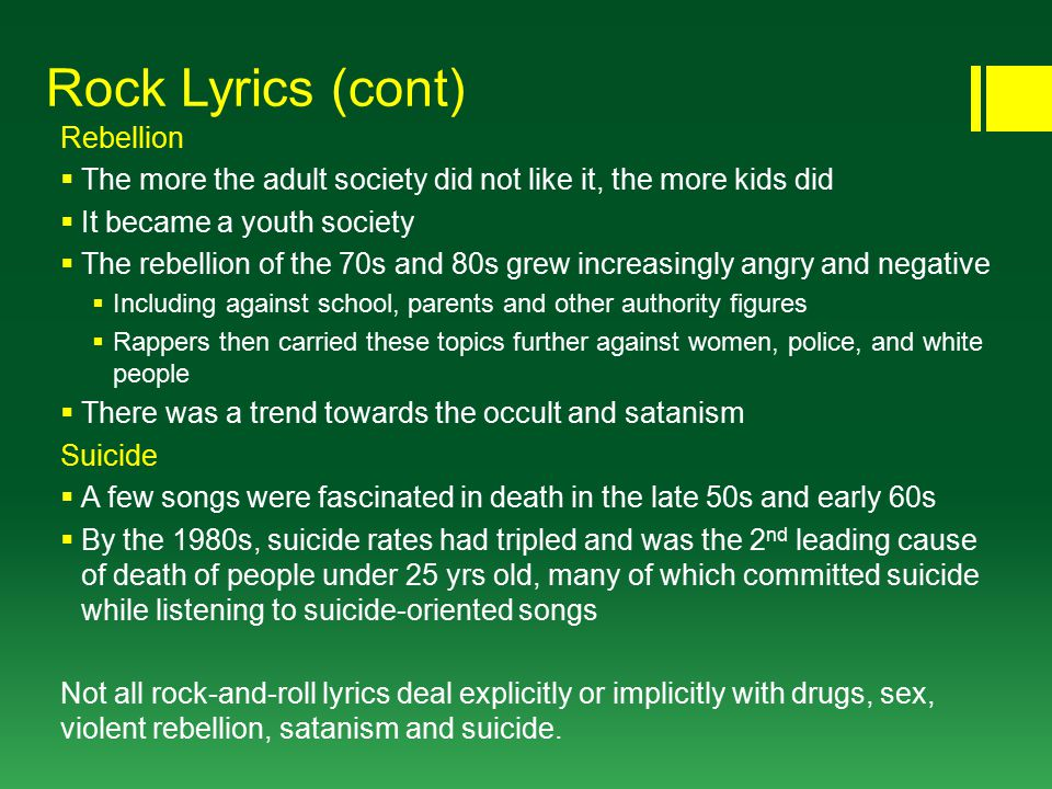 Lyric songs about sex lyrics : The Decade of Nondirection  1950s: a blend of R&B, C&W and pop ...