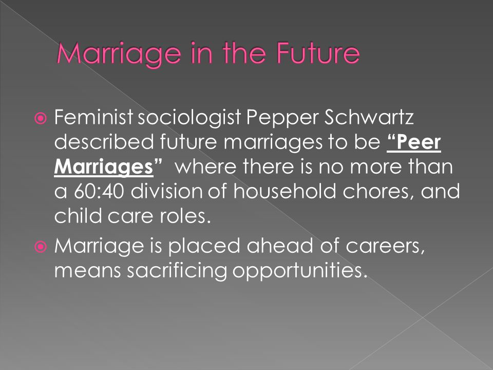  Feminist sociologist Pepper Schwartz described future marriages to be Peer Marriages where there is no more than a 60:40 division of household chores, and child care roles.