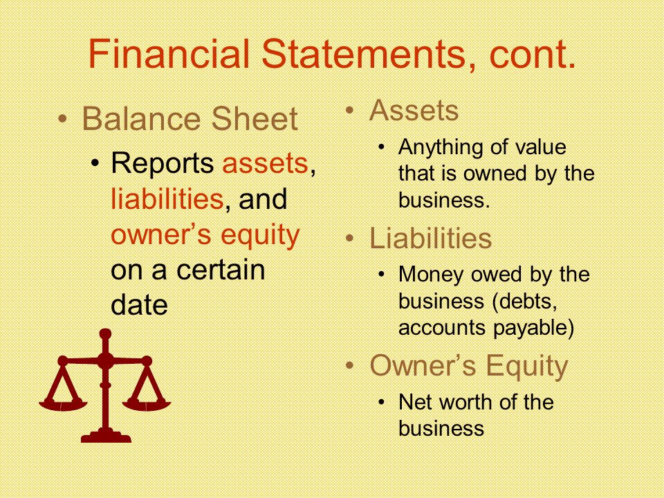 Financial Statements, cont.