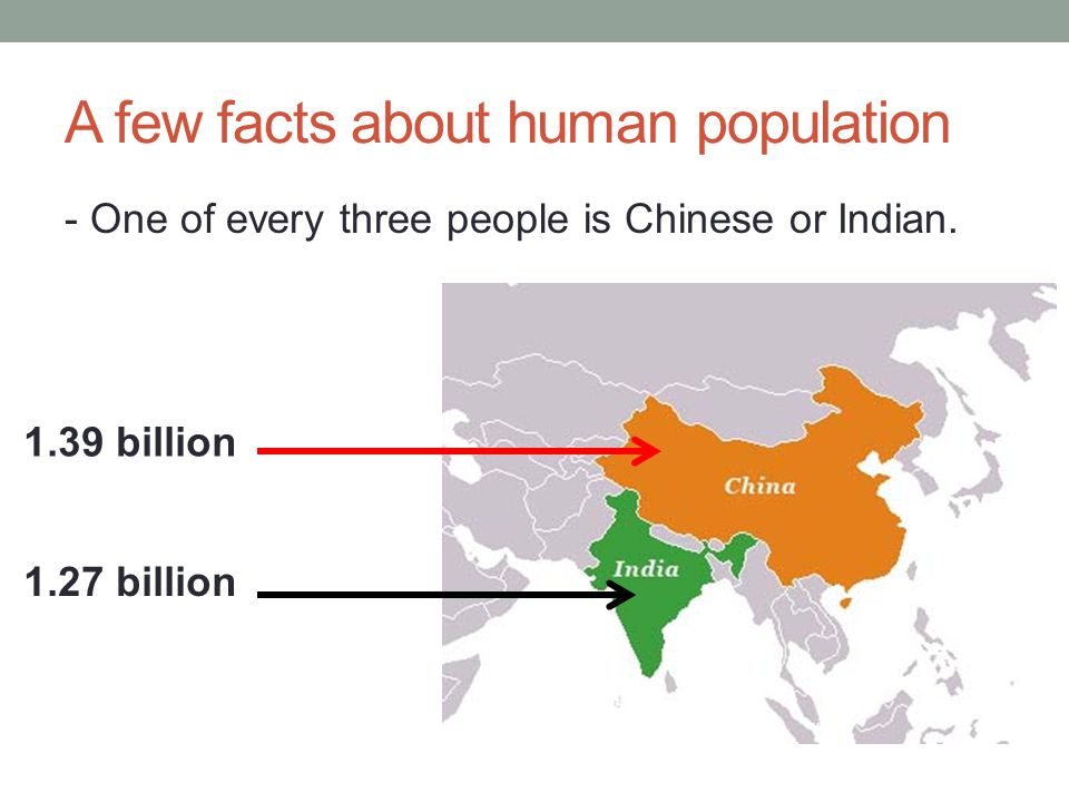 A few facts about human population - One of every three people is Chinese or Indian.