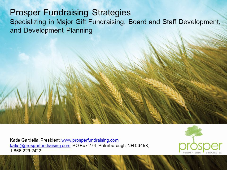 Katie Gardella, President,   PO Box 274, Peterborough, NH 03458, Prosper Fundraising Strategies Specializing in Major Gift Fundraising, Board and Staff Development, and Development Planning