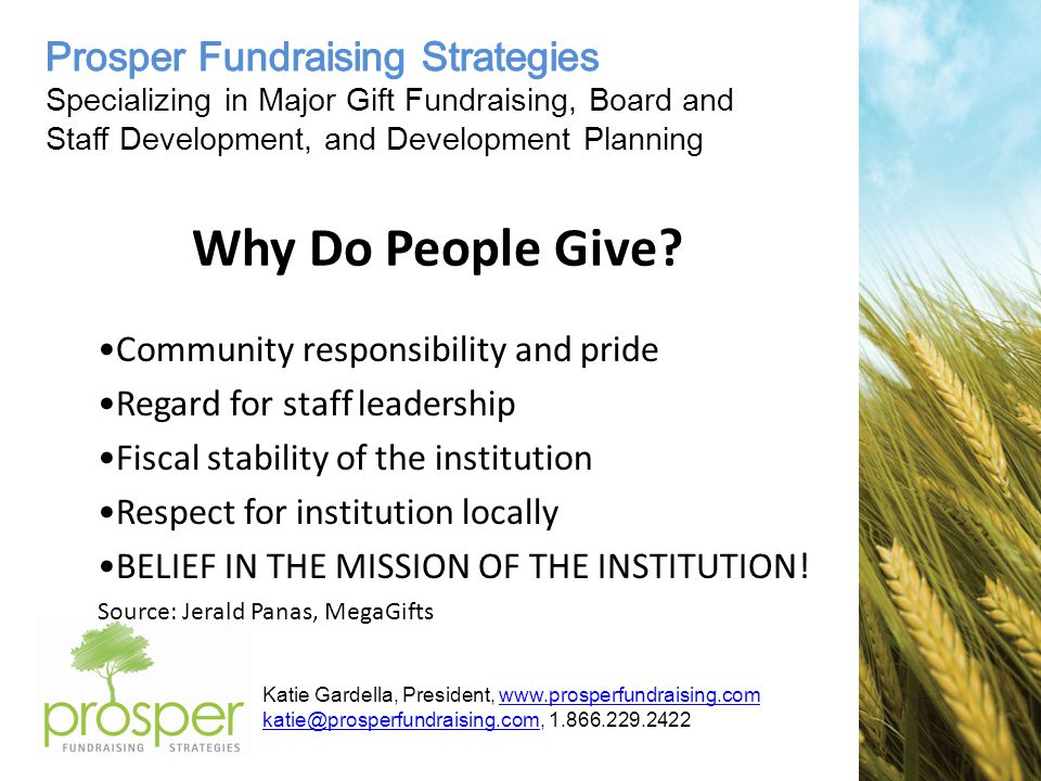 Katie Gardella, President, Why Do People Give.