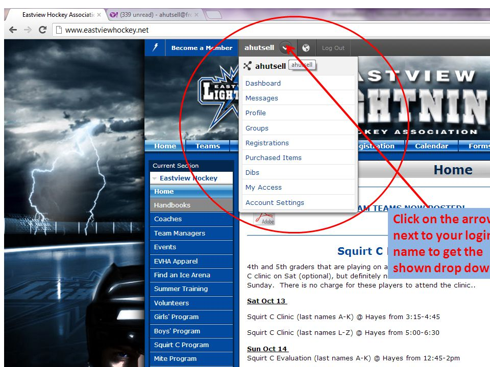 Click on the arrow next to your login name to get the shown drop down list