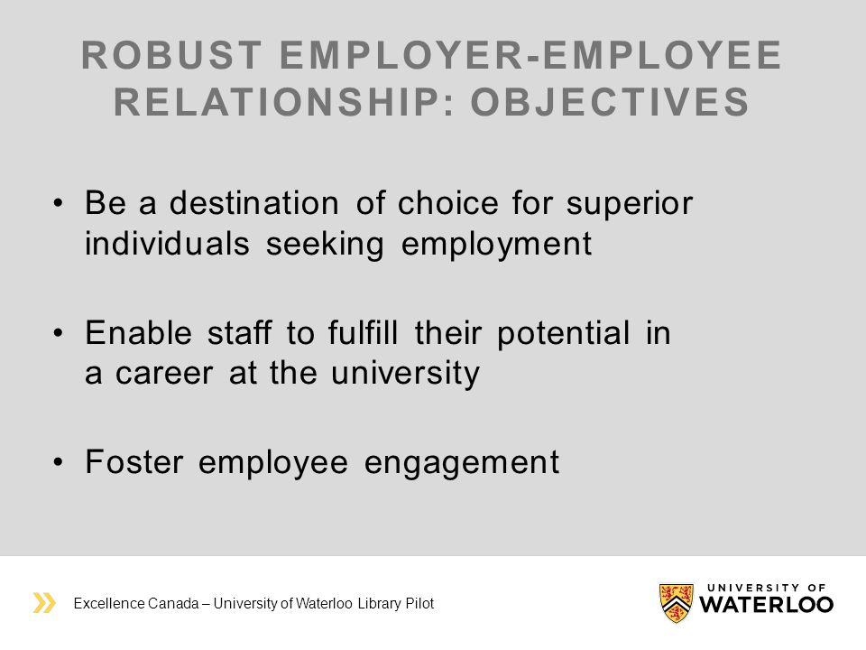 ROBUST EMPLOYER-EMPLOYEE RELATIONSHIP: OBJECTIVES Be a destination of choice for superior individuals seeking employment Enable staff to fulfill their potential in a career at the university Foster employee engagement Excellence Canada – University of Waterloo Library Pilot