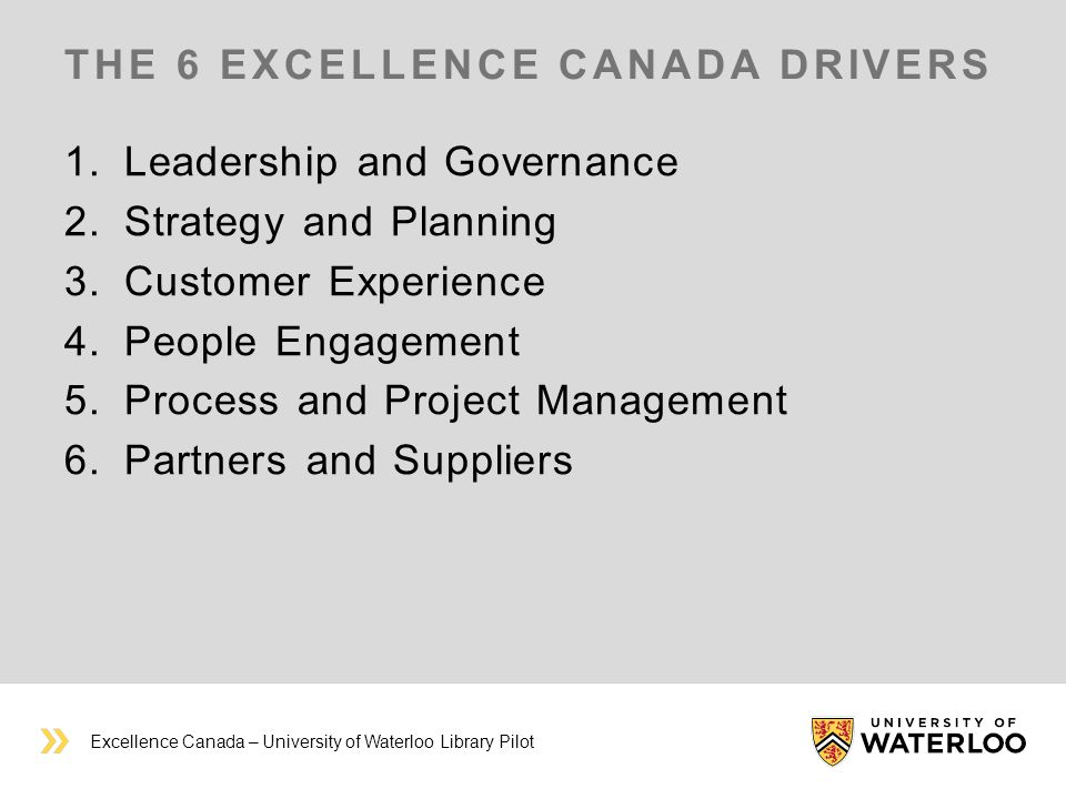 THE 6 EXCELLENCE CANADA DRIVERS 1.Leadership and Governance 2.Strategy and Planning 3.Customer Experience 4.People Engagement 5.Process and Project Management 6.Partners and Suppliers Excellence Canada – University of Waterloo Library Pilot