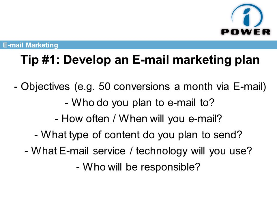Marketing Tip #1: Develop an  marketing plan - Objectives (e.g.