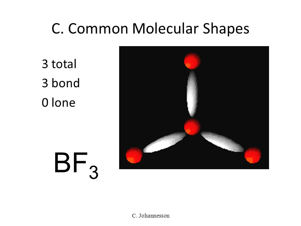 C. Johannesson C. Common Molecular Shapes 2 total 2 bond 0 lone LINEAR 180° BeH 2