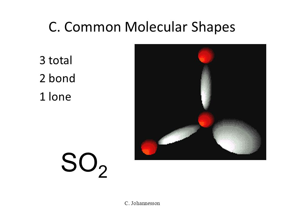 C. Johannesson 3 total 3 bond 0 lone TRIGONAL PLANAR 120° BF 3 C. Common Molecular Shapes