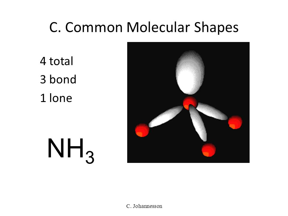 C. Johannesson 4 total 4 bond 0 lone TETRAHEDRAL 109.5° CH 4 C. Common Molecular Shapes