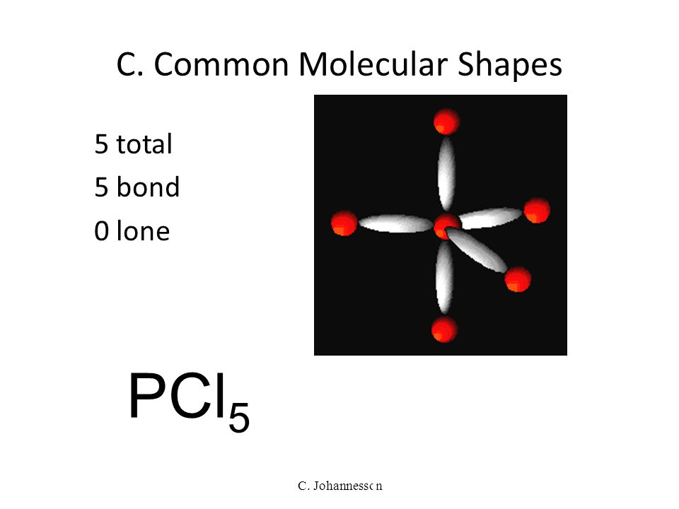 C. Johannesson 4 total 2 bond 2 lone BENT 104.5° H2OH2O C. Common Molecular Shapes