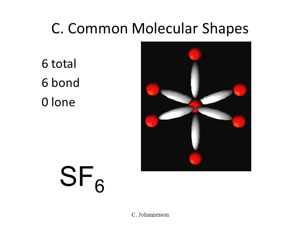 C. Johannesson 5 total 5 bond 0 lone TRIGONAL BIPYRAMIDAL 120°/90° PCl 5 C. Common Molecular Shapes