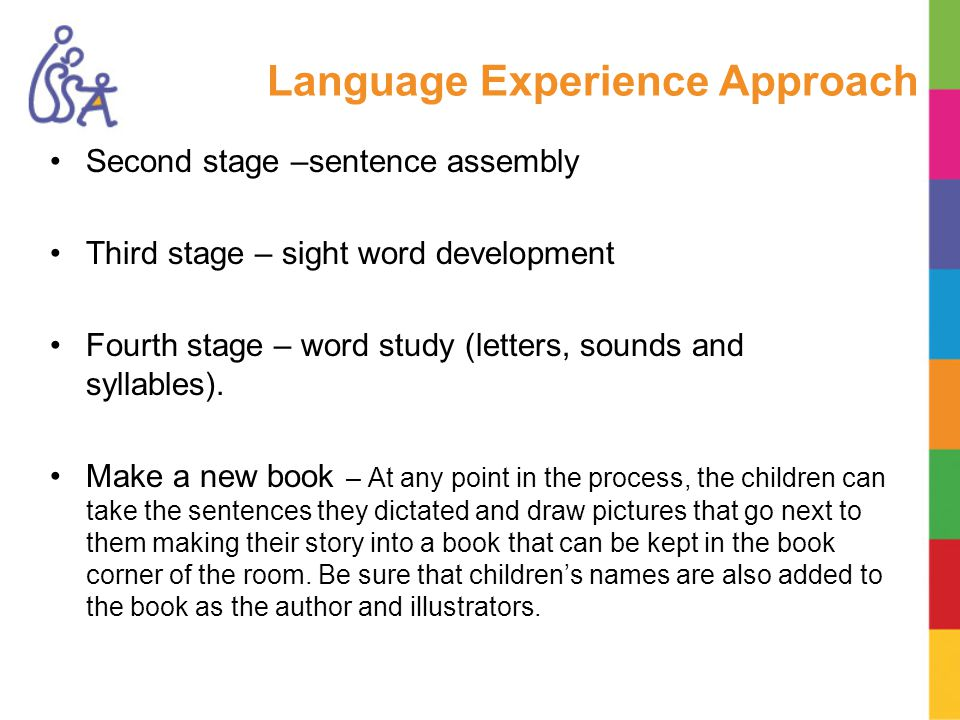 Language Experience Approach Second stage –sentence assembly Third stage – sight word development Fourth stage – word study (letters, sounds and syllables).