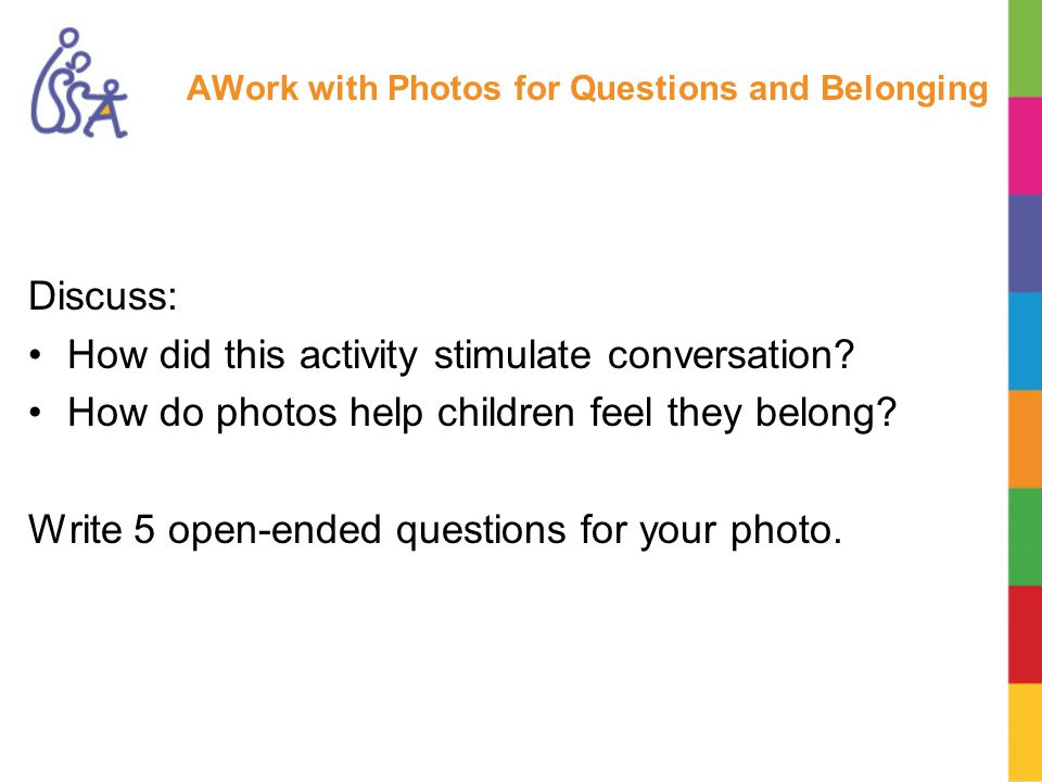 AWork with Photos for Questions and Belonging Discuss: How did this activity stimulate conversation.