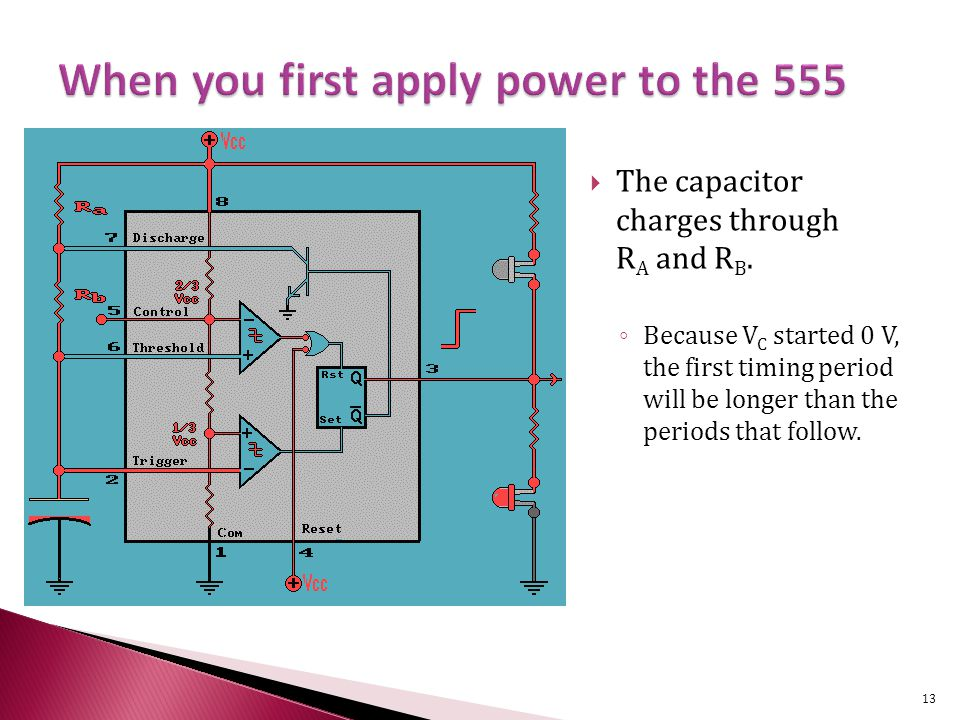  The capacitor charges through R A and R B.