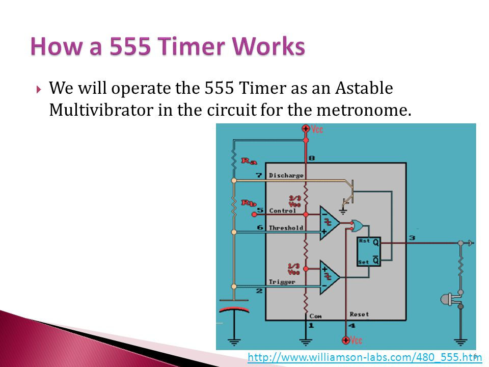  We will operate the 555 Timer as an Astable Multivibrator in the circuit for the metronome.