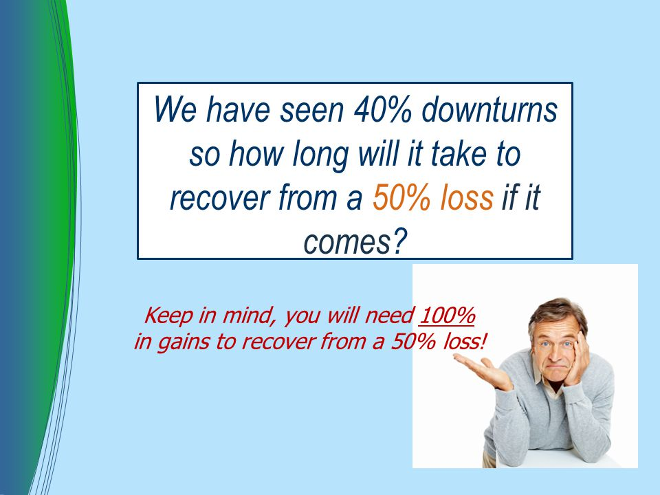 We have seen 40% downturns so how long will it take to recover from a 50% loss if it comes.
