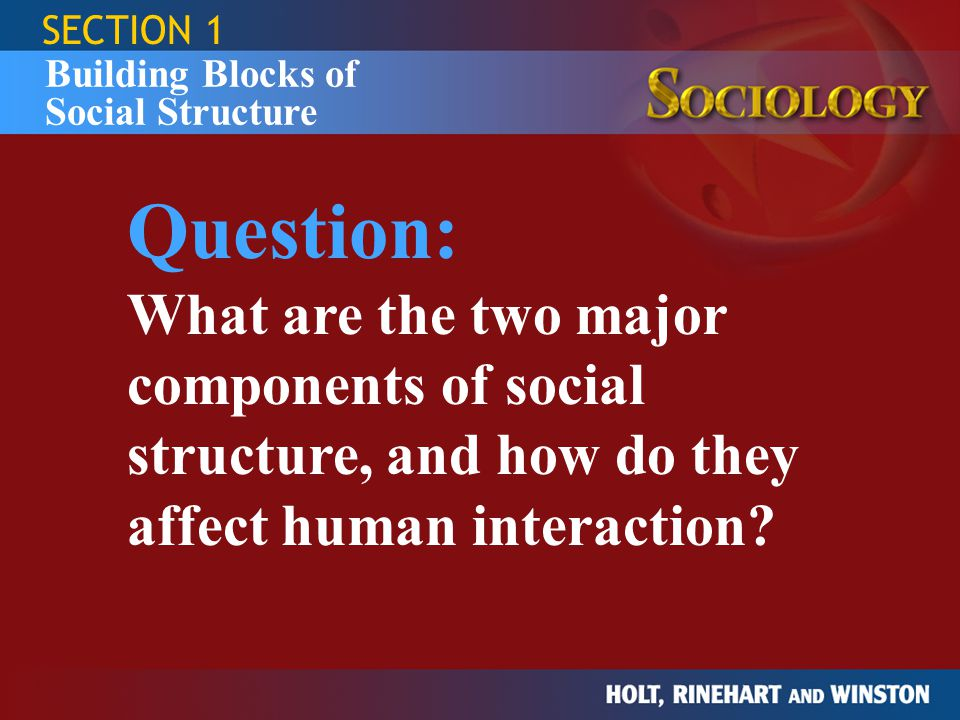 SECTION 1 Building Blocks of Social Structure Status Examples of Roles Examples of Conflict / Strain fire fighter mother P.T.A.