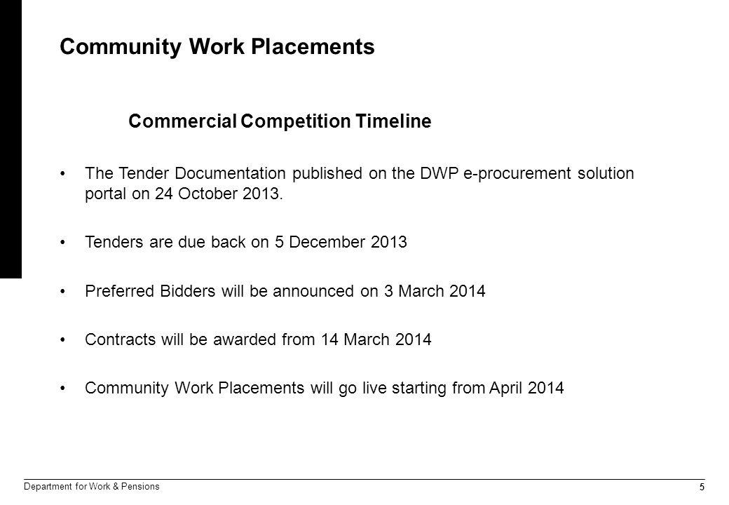 5 Department for Work & Pensions Community Work Placements Commercial Competition Timeline The Tender Documentation published on the DWP e-procurement solution portal on 24 October 2013.