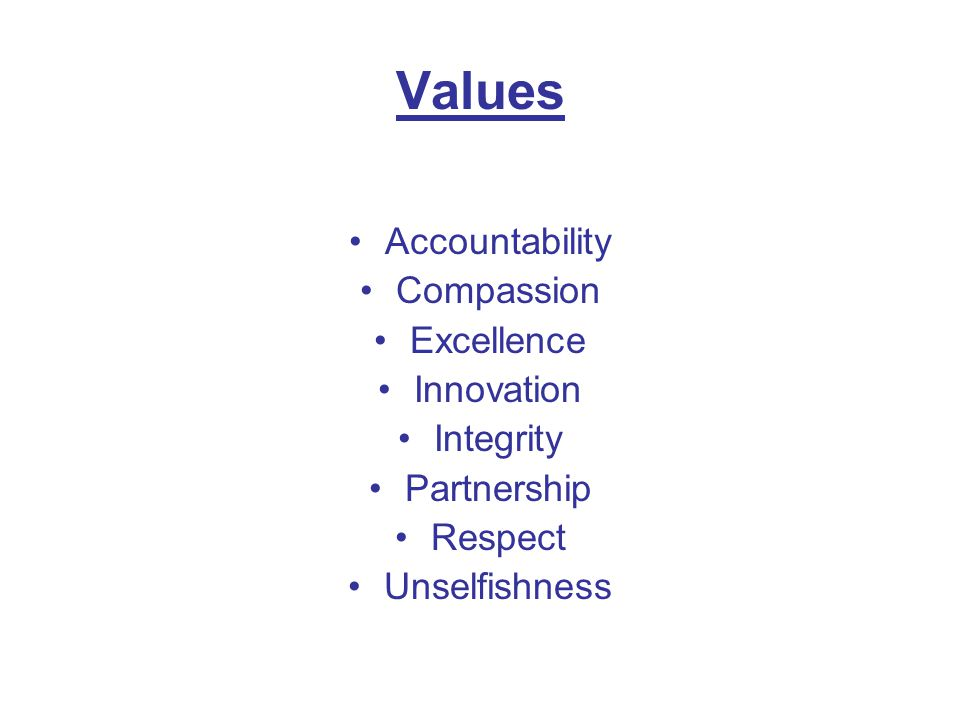 Values Accountability Compassion Excellence Innovation Integrity Partnership Respect Unselfishness