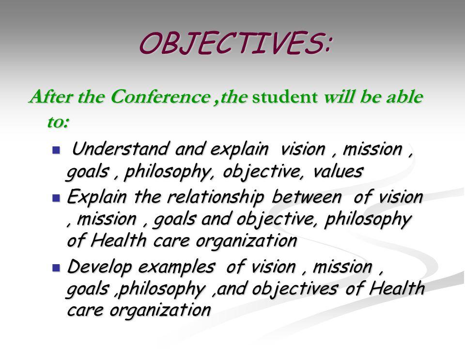 vission mission and nursing philosophy