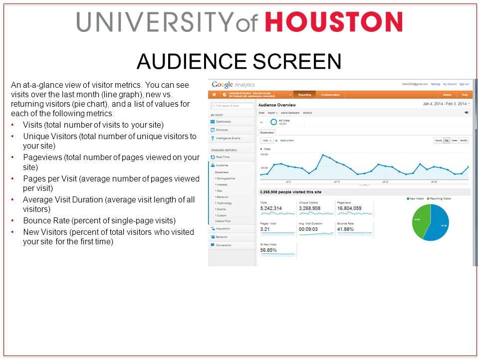 AUDIENCE SCREEN An at-a-glance view of visitor metrics.