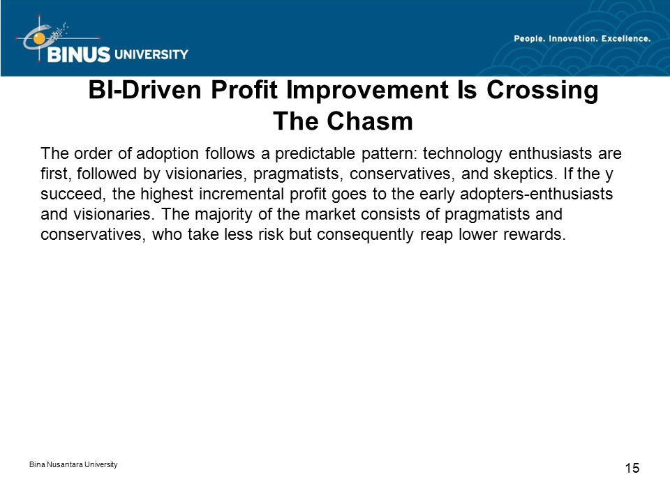 BI-Driven Profit Improvement Is Crossing The Chasm The order of adoption follows a predictable pattern: technology enthusiasts are first, followed by visionaries, pragmatists, conservatives, and skeptics.