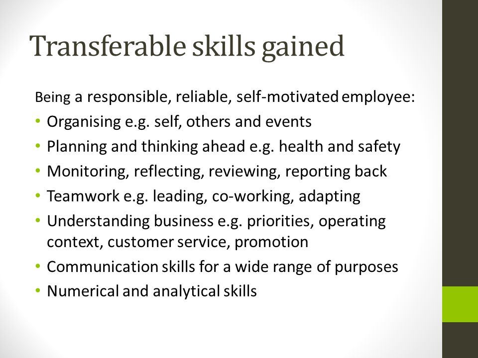 Transferable skills gained Being a responsible, reliable, self-motivated employee: Organising e.g.