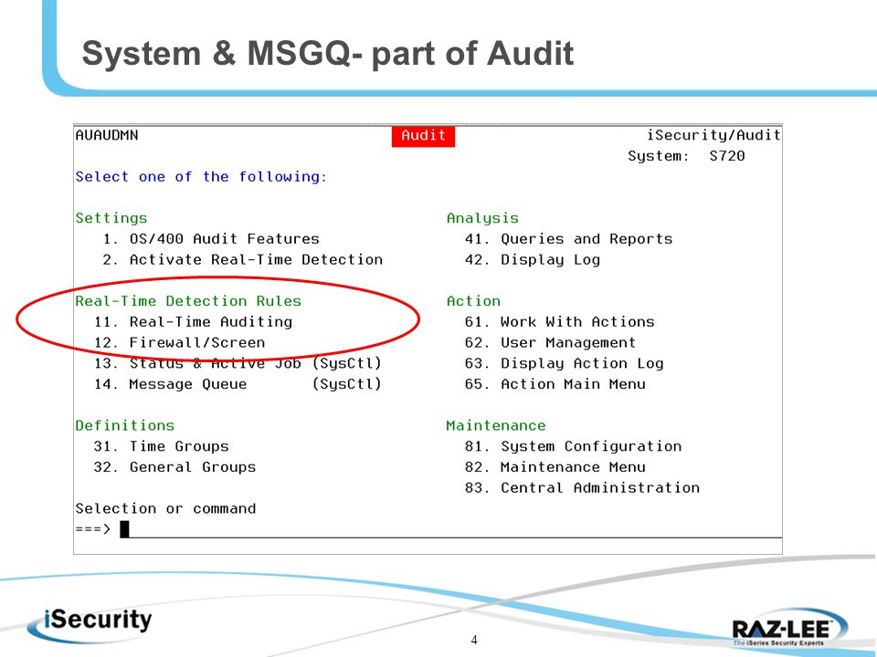4 System & MSGQ- part of Audit