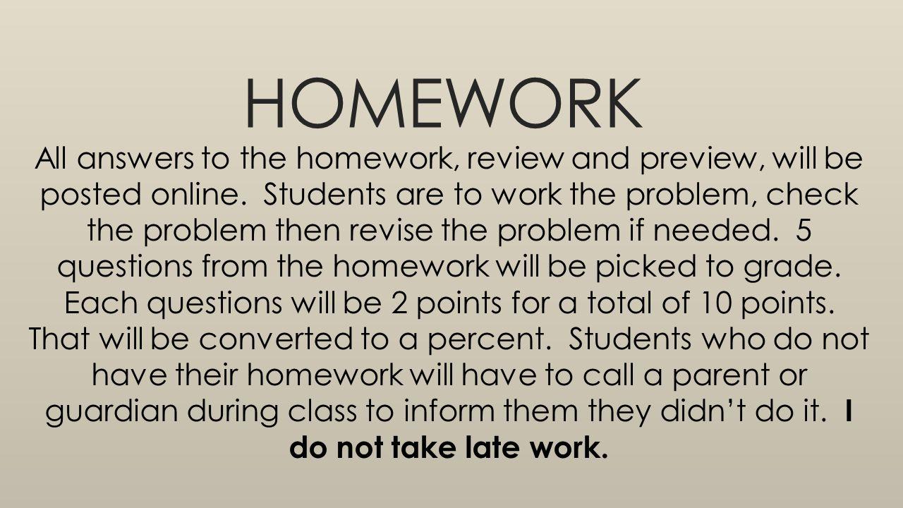 All Homework Answers