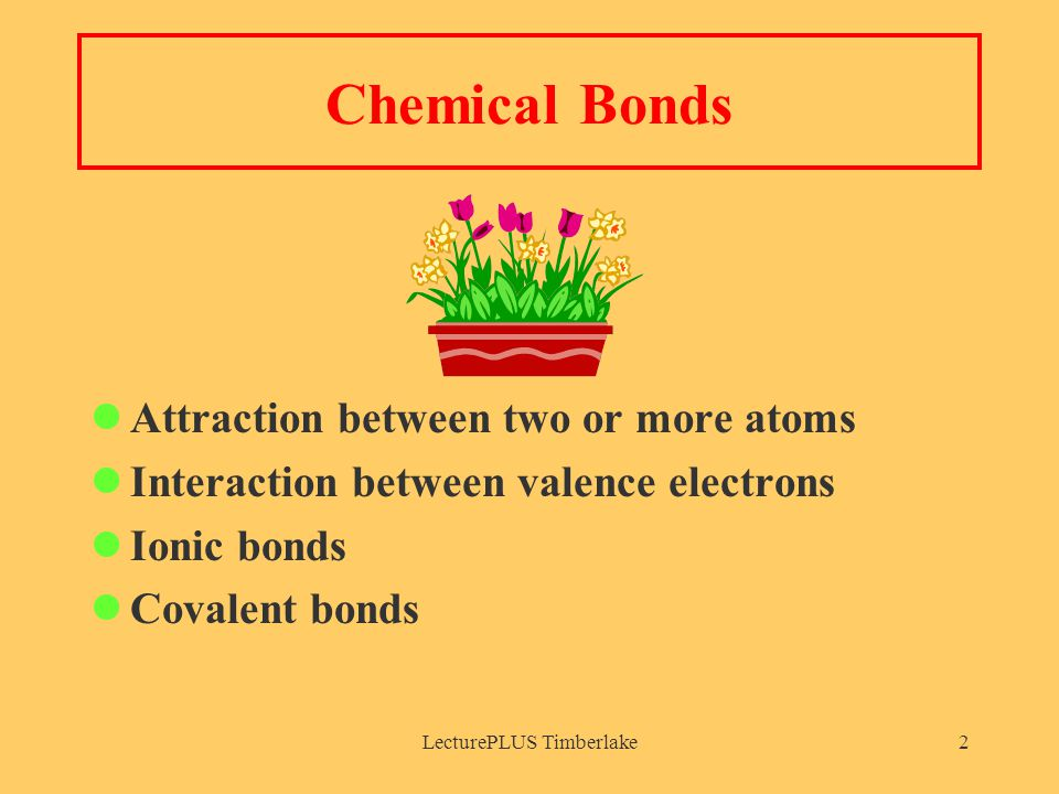 LecturePLUS Timberlake2 Chemical Bonds Attraction between two or more atoms Interaction between valence electrons Ionic bonds Covalent bonds