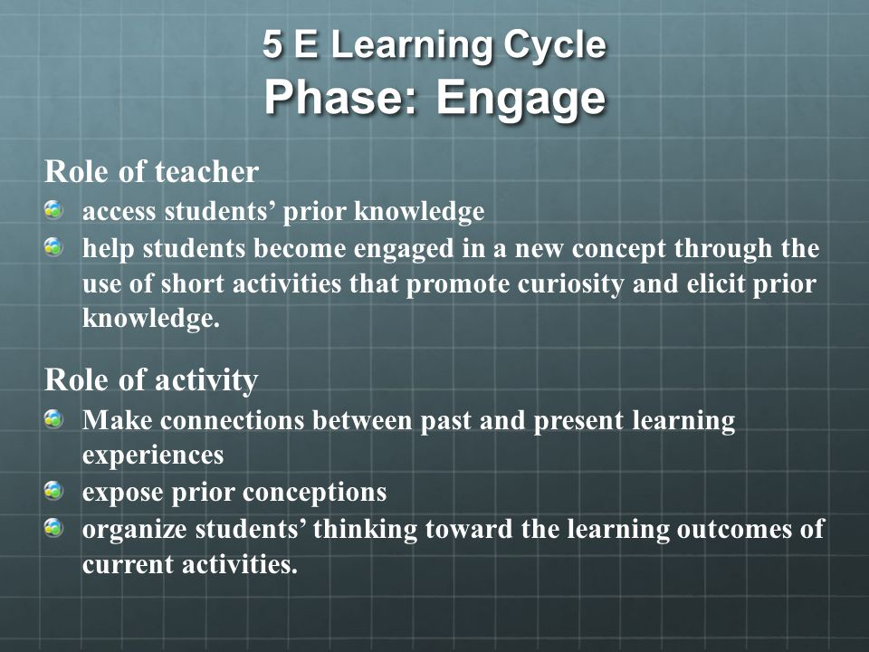 5 E Learning Cycle Phase: Engage Role of teacher access students' prior knowledge help students become engaged in a new concept through the use of short activities that promote curiosity and elicit prior knowledge.
