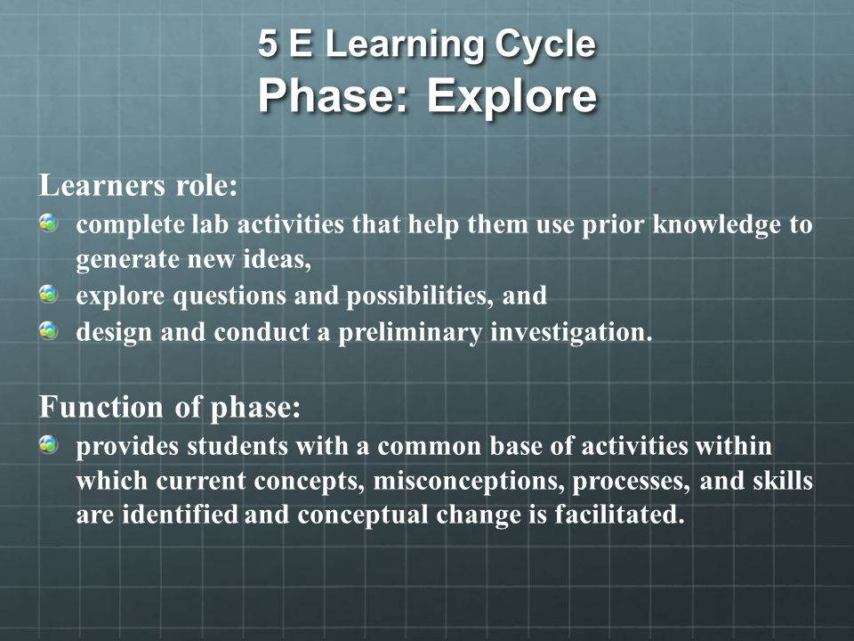 5 E Learning Cycle Phase: Explore Learners role: complete lab activities that help them use prior knowledge to generate new ideas, explore questions and possibilities, and design and conduct a preliminary investigation.