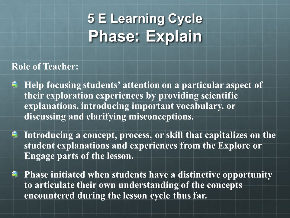 5 E Learning Cycle Phase: Explain Role of Teacher: Help focusing students' attention on a particular aspect of their exploration experiences by providing scientific explanations, introducing important vocabulary, or discussing and clarifying misconceptions.