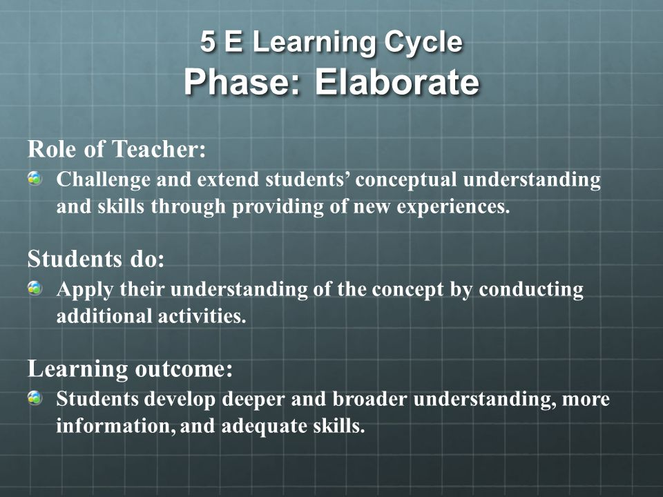 5 E Learning Cycle Phase: Elaborate Role of Teacher: Challenge and extend students' conceptual understanding and skills through providing of new experiences.