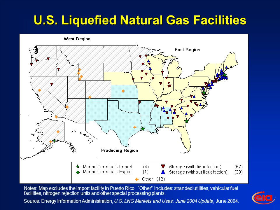 U.S. Liquefied Natural Gas Facilities Notes: Map excludes the import facility in Puerto Rico.