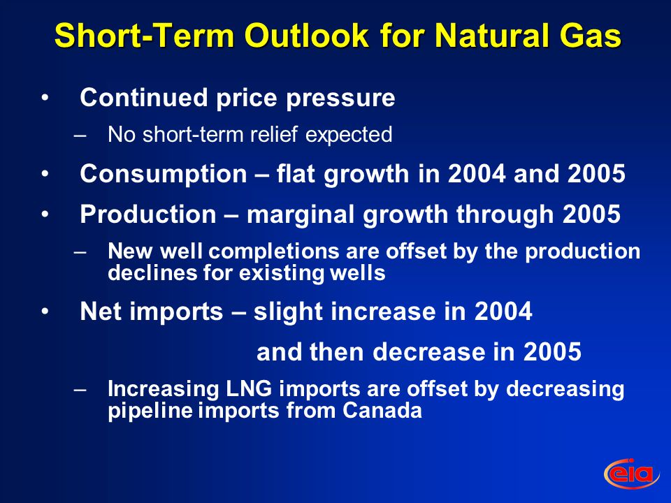 Short-Term Outlook for Natural Gas Continued price pressure –No short-term relief expected Consumption – flat growth in 2004 and 2005 Production – marginal growth through 2005 –New well completions are offset by the production declines for existing wells Net imports – slight increase in 2004 and then decrease in 2005 –Increasing LNG imports are offset by decreasing pipeline imports from Canada